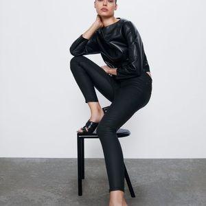 Zara Premium Denim Skinny Black Coated Jeans NWT